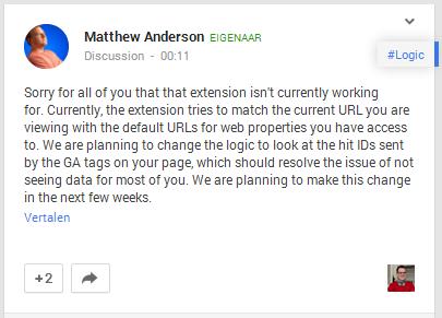 Google Chrome Extensie Pagina Analyse werkt niet