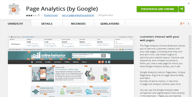 Google Chrome extensie Pagina Analyse